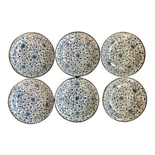 Late Twentieth Century Japanese Blue and White Ceramic Porcelain Arabesque Pattern Set of Six 6 Plates Bowls Vintage Signed For Sale