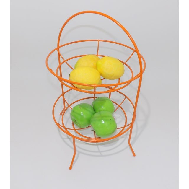 Metal Mid-Century Orange Vintage 2 Tier Fruit or Veggie Basket For Sale - Image 7 of 8