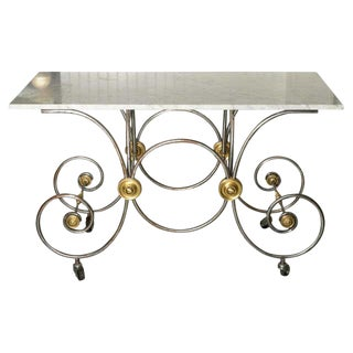 French Style, Marble Top Bakers Table With Brass and Metal Base For Sale