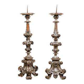 Pair of Italian Tall Baroque Style Silver Candlesticks from the 19th Century For Sale