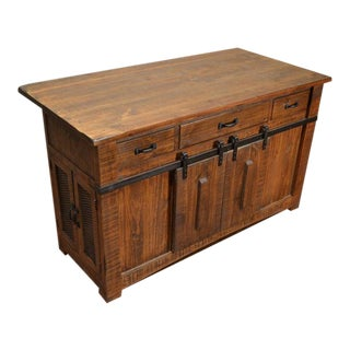Crafters and Weavers Greenview Kitchen Island in Rustic Brown For Sale