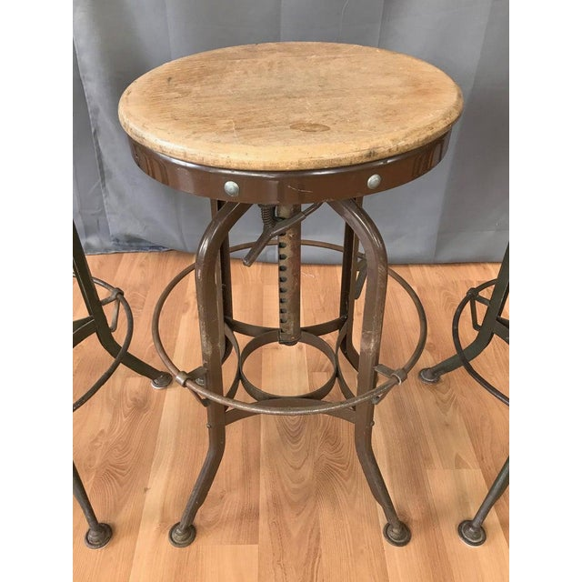 1940s Toledo Industrial Adjustable Height Backless Swivel Stools, Three Available For Sale - Image 5 of 13