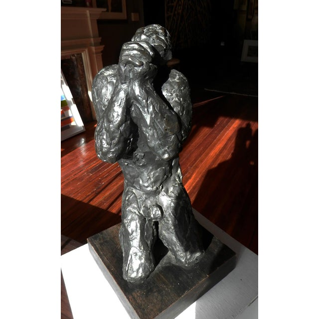 """Polish/American artist Nathan Rapoport (1911-1987), created this sculpture titled """"Job"""" in the 1970s. bronze 19 1/4 x 8..."""