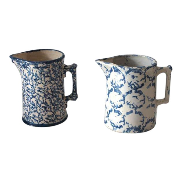 Two Amazing 19th Century Design Sponge Ware Pitchers For Sale