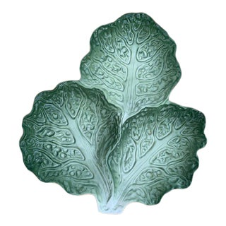 French Vintage Lettuce Leaf Plate For Sale