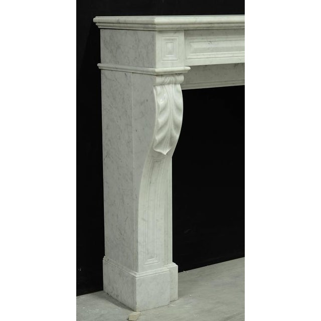 Carrara Marble Small White Marble Louis XVI Fireplace, 19th Century For Sale - Image 7 of 9