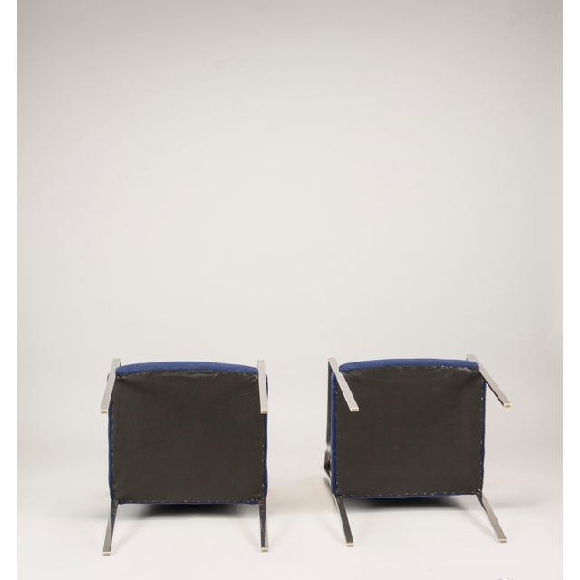 Pair Bert England for Stow Davis Steel Frame Arm Chairs For Sale In Detroit - Image 6 of 8