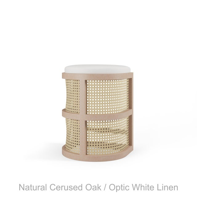 Not Yet Made - Made To Order Isabella Counter Stool - Natural Cerused Oak, Optic White Linen For Sale - Image 5 of 5