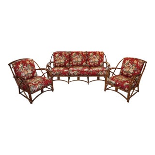 Mid 20th Century Heywood Wakefield Rattan 3-Piece Sofa Set For Sale