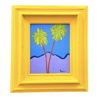 """""""Modern Palm Trees"""" Contemporary Botanical Acrylic Painting by Tony Marine, Framed For Sale"""