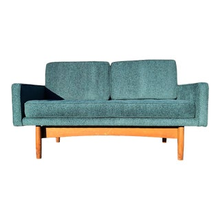 1960s Mid Century Modern Teal Loveseat For Sale