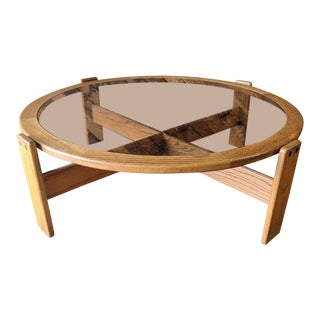 Vintage 1970's Lou Hodges Round Smoked Glass Coffee Table in Oak
