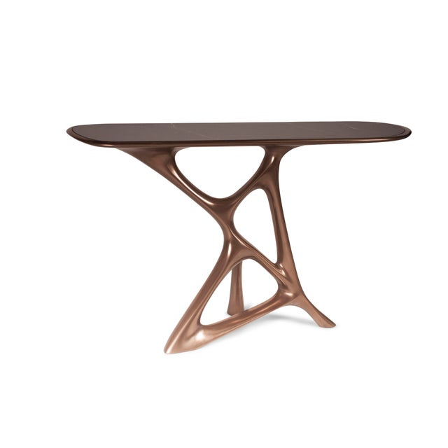 Amorph Amorph Anika Console, Bronze Finish With Black Marble For Sale - Image 4 of 9