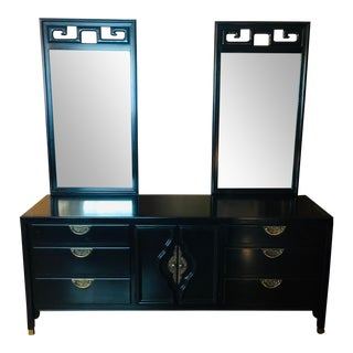 Century Furniture Mid Century Asian Style Dresser 2 Mirrors For Sale