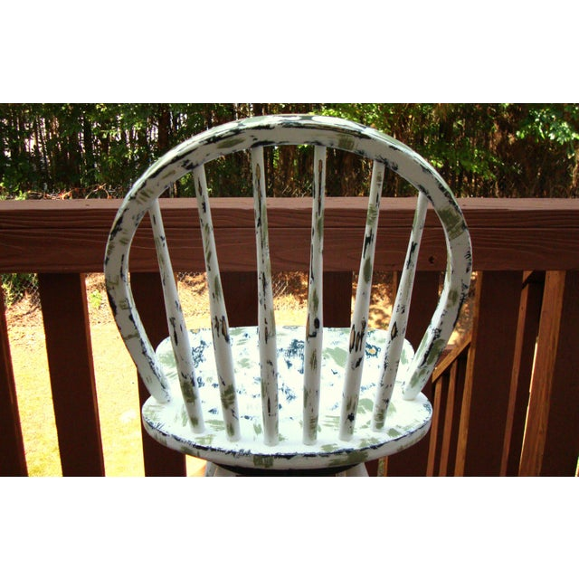 Country Cottage Hand Painted Distressed Bar Stool - Image 8 of 11