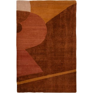 Contemporary Geometric Wool and Silk Rug - 4′ × 6′2″ For Sale