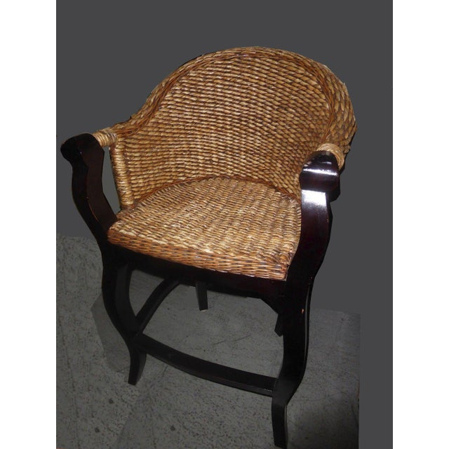 Tiki Palm Beach Style Woven Wicker Bar Stools - A Pair - Image 3 of 11