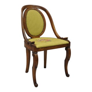 Victorian French Regency Style Swan Carved Mahogany Green Needlepoint Side Chair