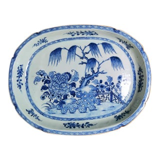 Mid 18th Century Chinese Handpainted Blue and White Porcelain Tray For Sale