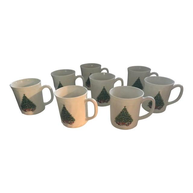 Vintage French Salem Porcelle Christmas Mugs - Set of 8 For Sale