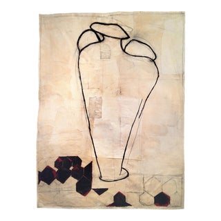 Tapestry-Like Large Abstract Wax and Oilstick Painting on Layered Papers / a Vase