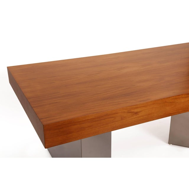 Mid-Century Modern Teak and Polished Steel Desk by Pace For Sale - Image 3 of 7