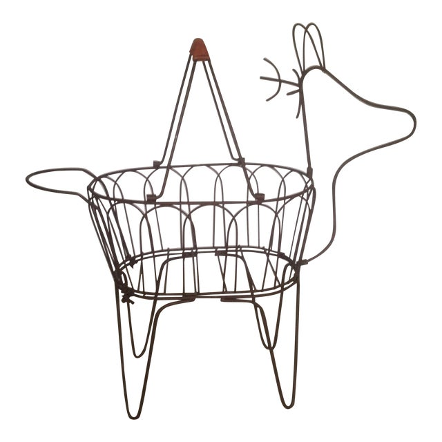 Large Vintage Metal Deer Planter/Basket For Sale