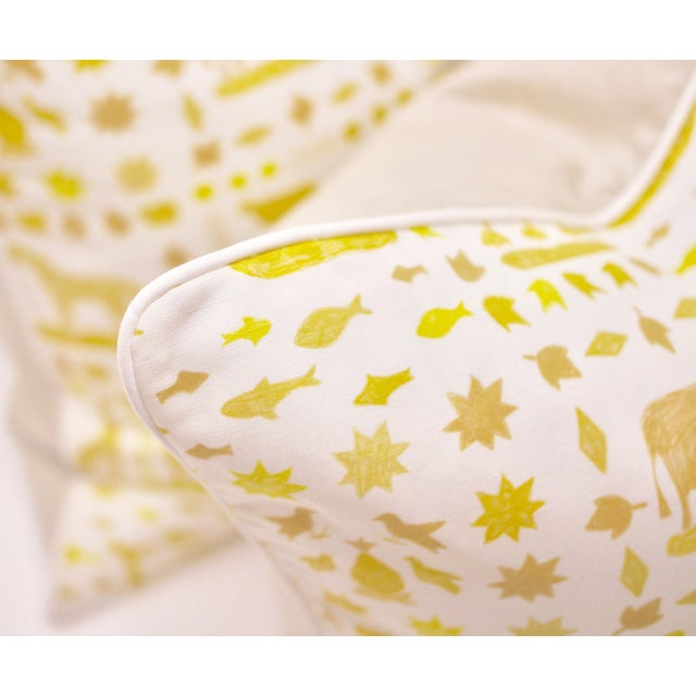 "Contemporary Lulie Wallace ""Two by Two"" Square Pillows in Citron - a Pair For Sale - Image 3 of 6"