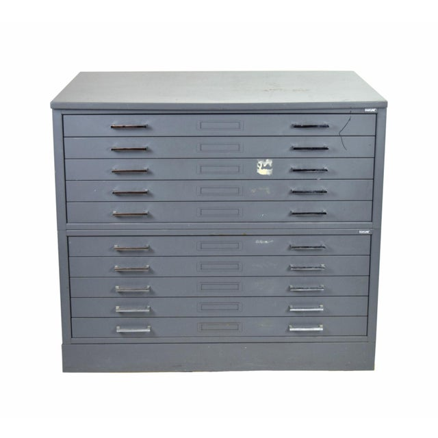 Gray Vintage Mayline Industrial Steel Map Case Flat File Cabinet For Sale - Image 8 of 8