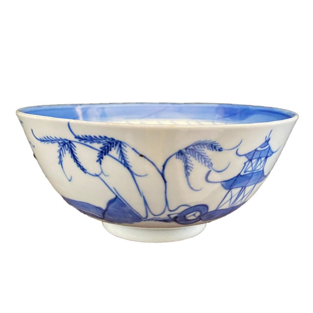 """Blue 19th Century Chinese Canton Blue and White Porcelain Pagoda Motif Bowl 6"""" D For Sale - Image 8 of 9"""