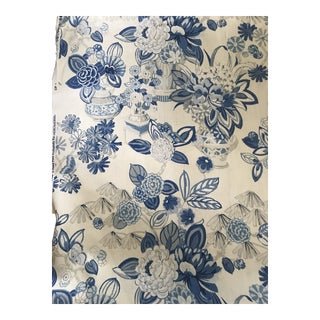 Schumacher Bouquet Chinois Linen Fabric - 5 1/2 Yards For Sale