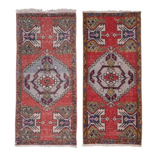 "Vintage Turkish Small Rug - a Pair 1'6"" X 3'3"" For Sale"