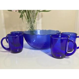 1960s Mid-Century French Cobalt Blue Arcoroc Bowl & Mug Set of 5 Preview