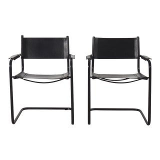 Mart Stam Black on Black Leather Arm Chairs - Pair For Sale