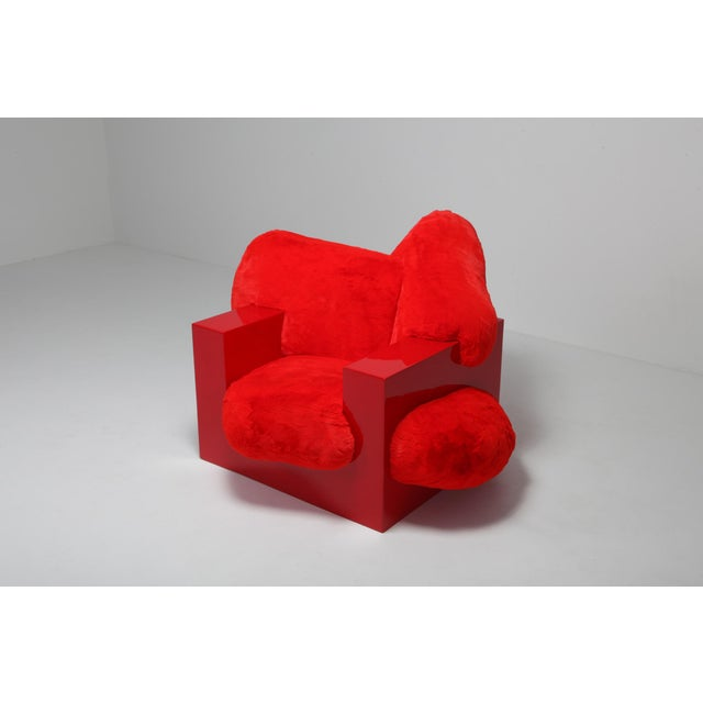 Red 'Pillow Lounge Chair' in Red Lacquer and Faux Fur by Schimmel & Schweikle For Sale - Image 8 of 11