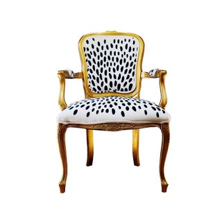 Modern Louis XV Style Gold, Black & White Abstract Spotted Chair For Sale