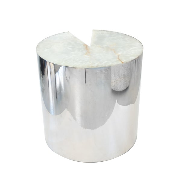 "Hollywood Regency Leon Rosen for Pace ""Pac-Man"" Stainless Steel and Onyx Side Table For Sale - Image 3 of 8"