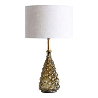 Olive Colour Glass Table Lamp With Shade For Sale