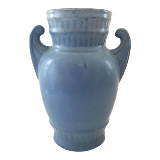 Cornflower Blue Stoneware Vase For Sale