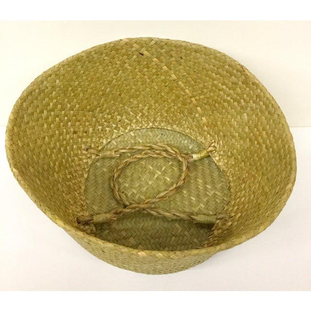 Natural Straw Collapsible Basket For Sale - Image 4 of 12