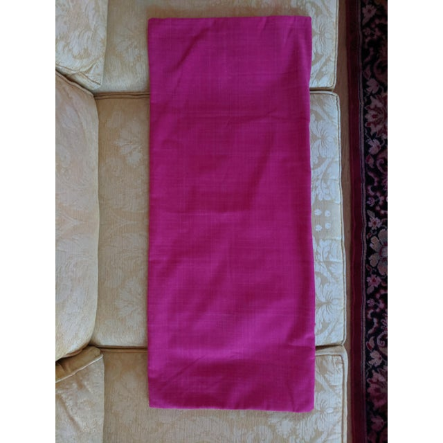 Custom Magenta Pink Linen Pillow Cover For Sale - Image 9 of 12