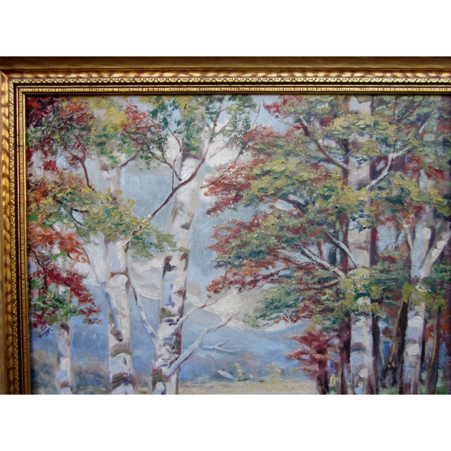 Vintage 1930-1940s Wallace Howard Signed Birch Forest Landscape Oil Painting on Canvas For Sale - Image 4 of 11