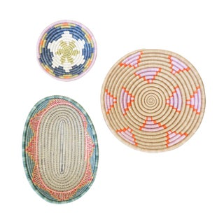 Handwoven Rwandan Multicolor Sweetgrass Coil Baskets - Set of 3