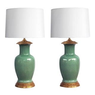 Vintage Celadon Crackle-Glaze Lamps by Wildwood Lamp Co.-A Pair For Sale