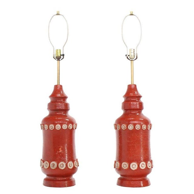Traditional Pair of Stunning Brick Color Glazed Pottery Table Lamps For Sale - Image 3 of 6