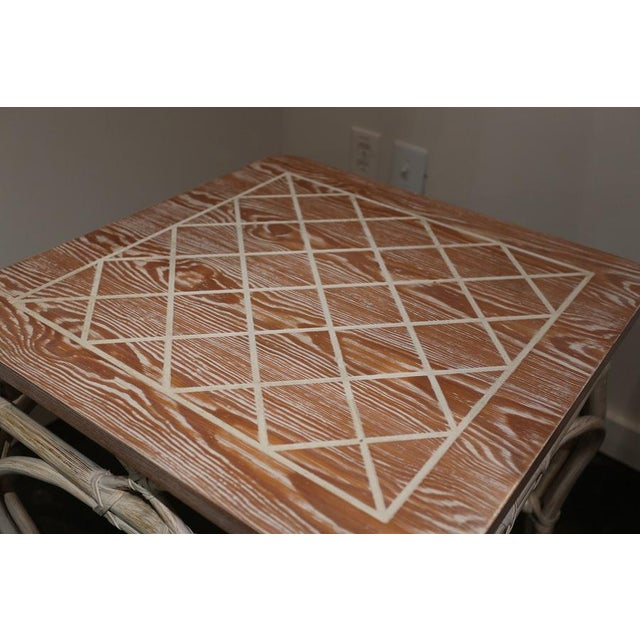 White-Wash Finish Rattan Occasional Table For Sale - Image 9 of 11