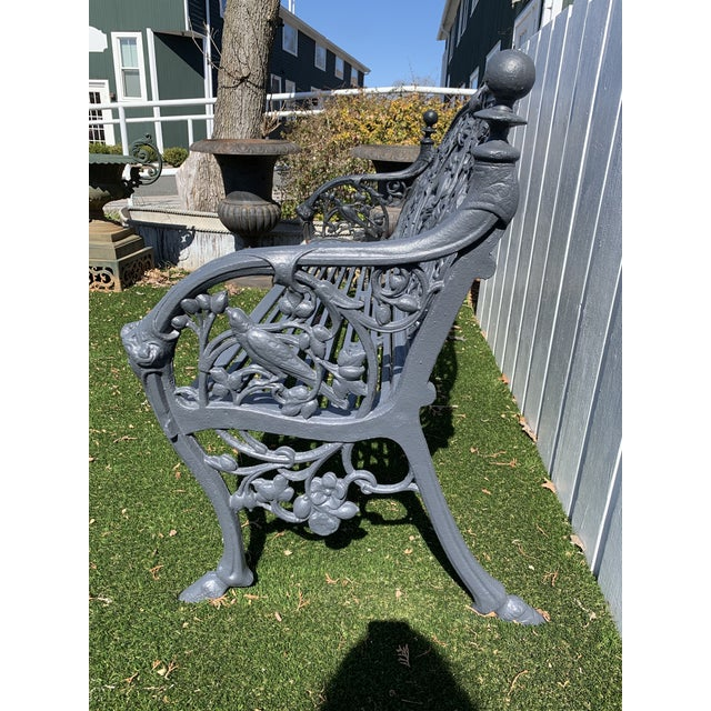 Metal Antique French Black Iron Bench With Birds and Nymph For Sale - Image 7 of 13