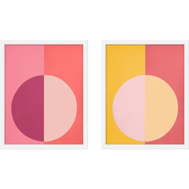 """Contemporary Medium """"Pink and Orange Forever, a Pair"""" Print by Stephanie Henderson, 16"""" X 40"""" For Sale - Image 3 of 3"""