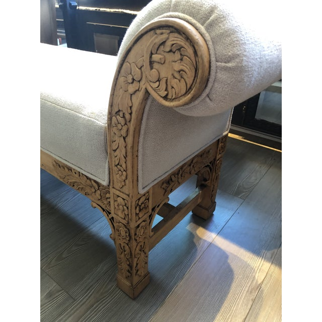 Asian Carved Wood Upholstered Bench For Sale In Los Angeles - Image 6 of 10