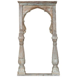 Mid 19th Century Solid Teak Wood Carved Arch Window Frame For Sale